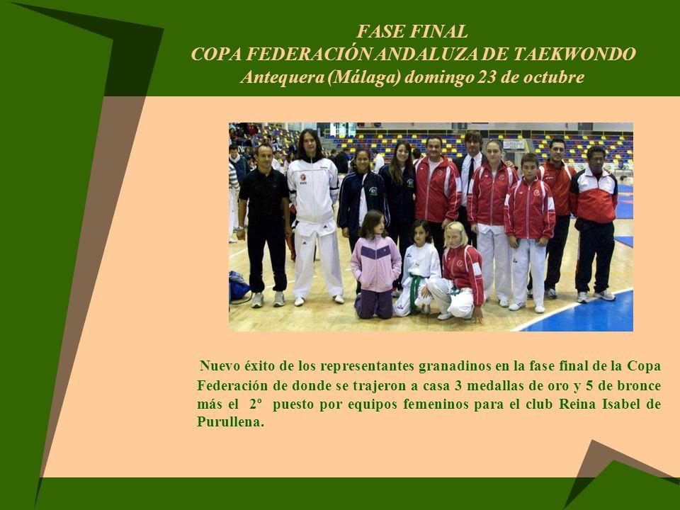 Fase Final COPA FEDERACIÓN ANDALUZA DE TAEKWONDO Antequera (Málaga) domingo 23 de octubre