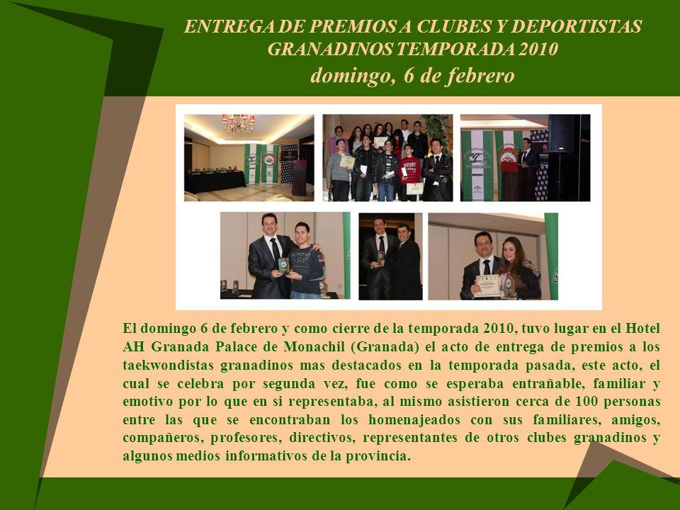 ENTREGA DE PREMIOS A CLUBES Y DEPORTISTAS GRANADINOS TEMPORADA 2010 domingo, 6 de febrero