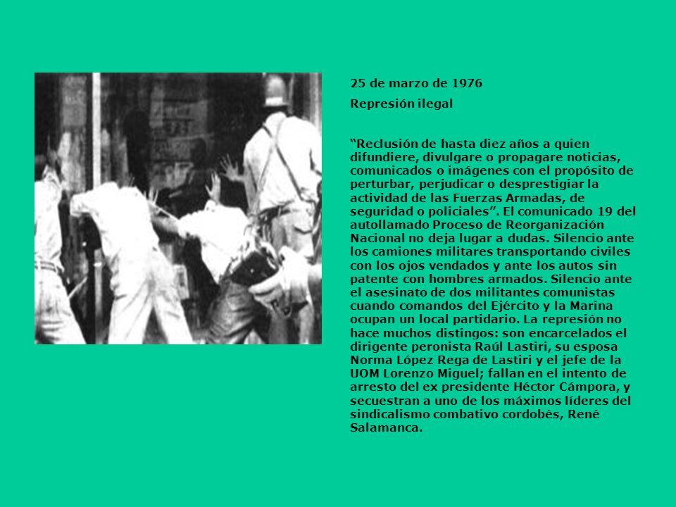 25 de marzo de 1976 Represión ilegal.