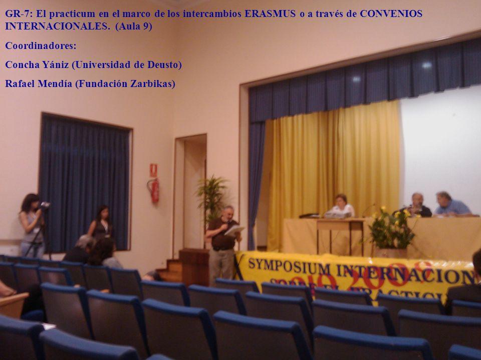 GR-7: El practicum en el marco de los intercambios ERASMUS o a través de CONVENIOS INTERNACIONALES. (Aula 9)