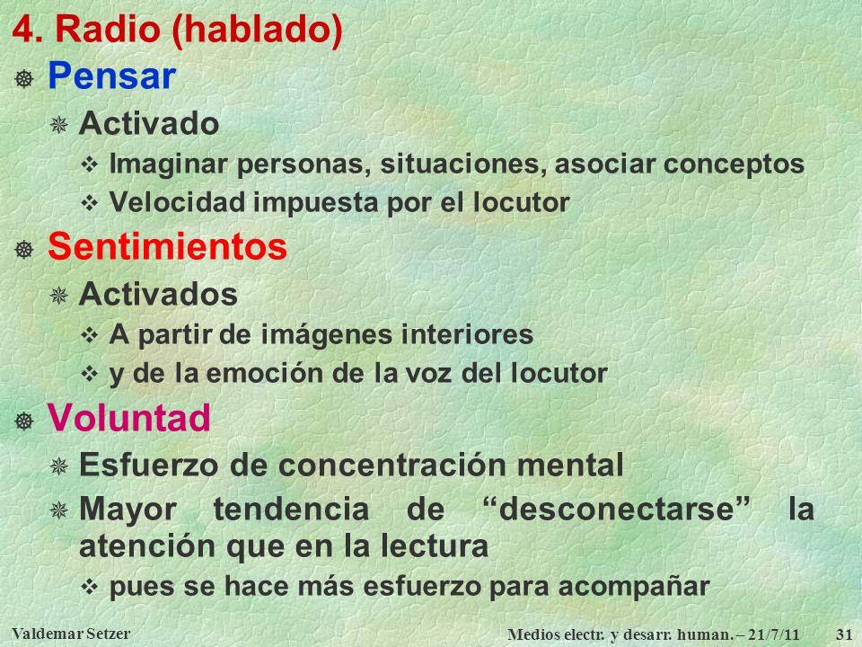 4. Radio (hablado) Pensar Sentimientos Voluntad Activado Activados
