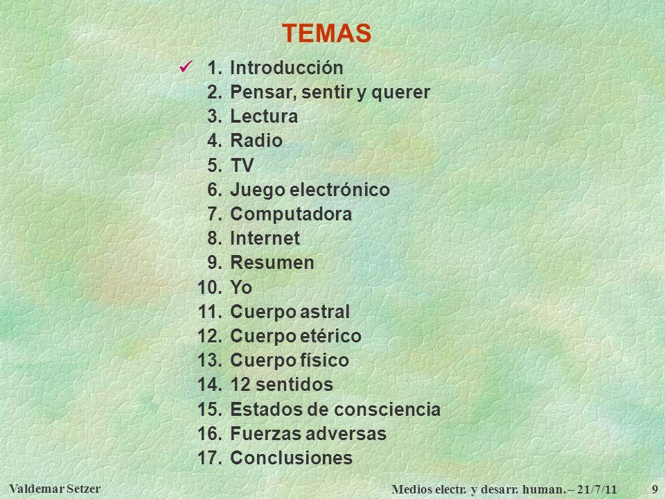 TEMAS  1. Introducción 2. Pensar, sentir y querer 3. Lectura 4. Radio