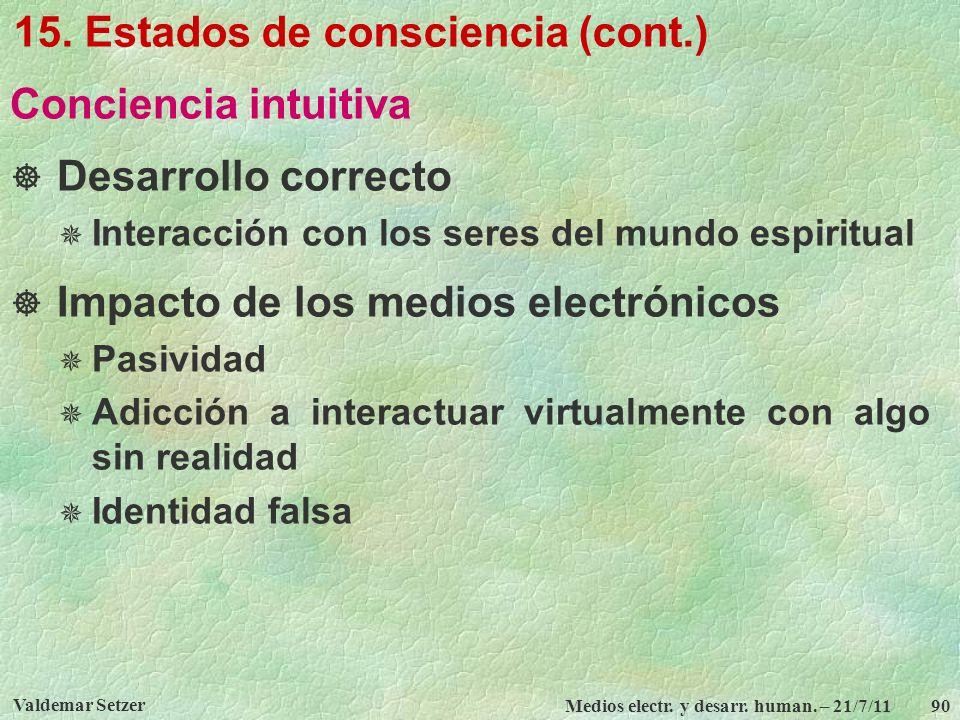 15. Estados de consciencia (cont.)