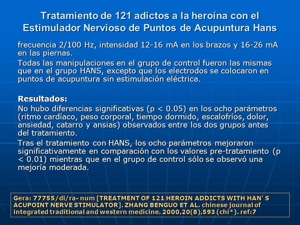 Tratamiento de 121 adictos a la heroína con el Estimulador Nervioso de Puntos de Acupuntura Hans