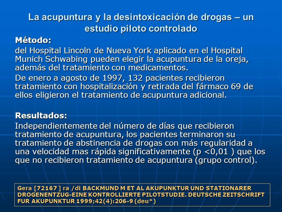 La acupuntura y la desintoxicación de drogas – un estudio piloto controlado