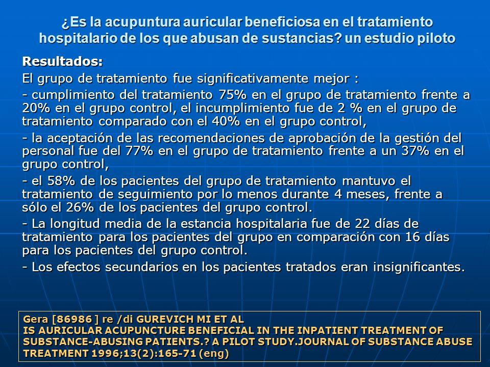¿Es la acupuntura auricular beneficiosa en el tratamiento hospitalario de los que abusan de sustancias un estudio piloto