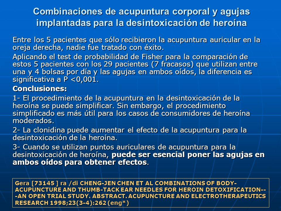 Combinaciones de acupuntura corporal y agujas implantadas para la desintoxicación de heroína
