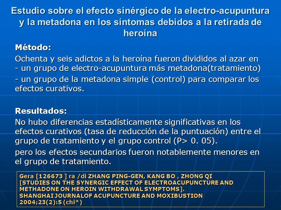 Estudio sobre el efecto sinérgico de la electro-acupuntura y la metadona en los síntomas debidos a la retirada de heroína