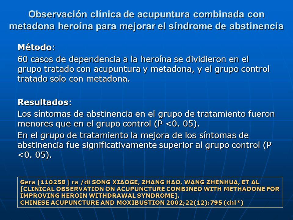 Observación clínica de acupuntura combinada con metadona heroína para mejorar el síndrome de abstinencia