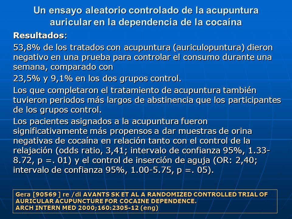Un ensayo aleatorio controlado de la acupuntura auricular en la dependencia de la cocaína