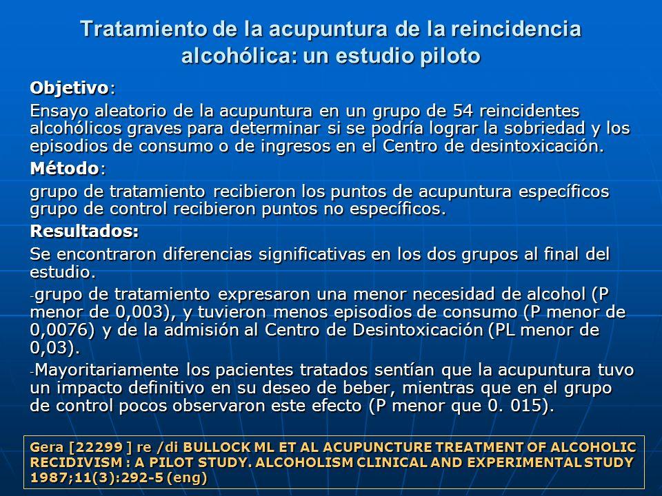 Tratamiento de la acupuntura de la reincidencia alcohólica: un estudio piloto