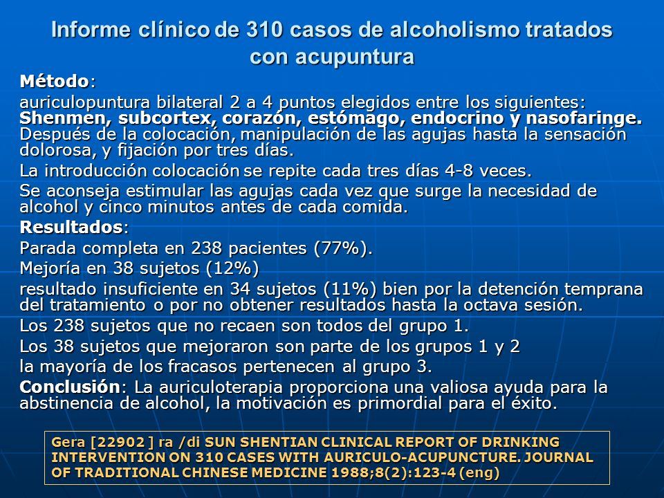 Informe clínico de 310 casos de alcoholismo tratados con acupuntura