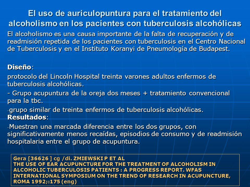 El uso de auriculopuntura para el tratamiento del alcoholismo en los pacientes con tuberculosis alcohólicas
