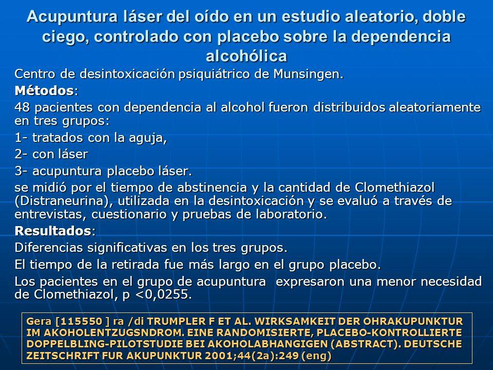 Acupuntura láser del oído en un estudio aleatorio, doble ciego, controlado con placebo sobre la dependencia alcohólica