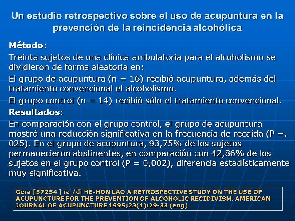 Un estudio retrospectivo sobre el uso de acupuntura en la prevención de la reincidencia alcohólica