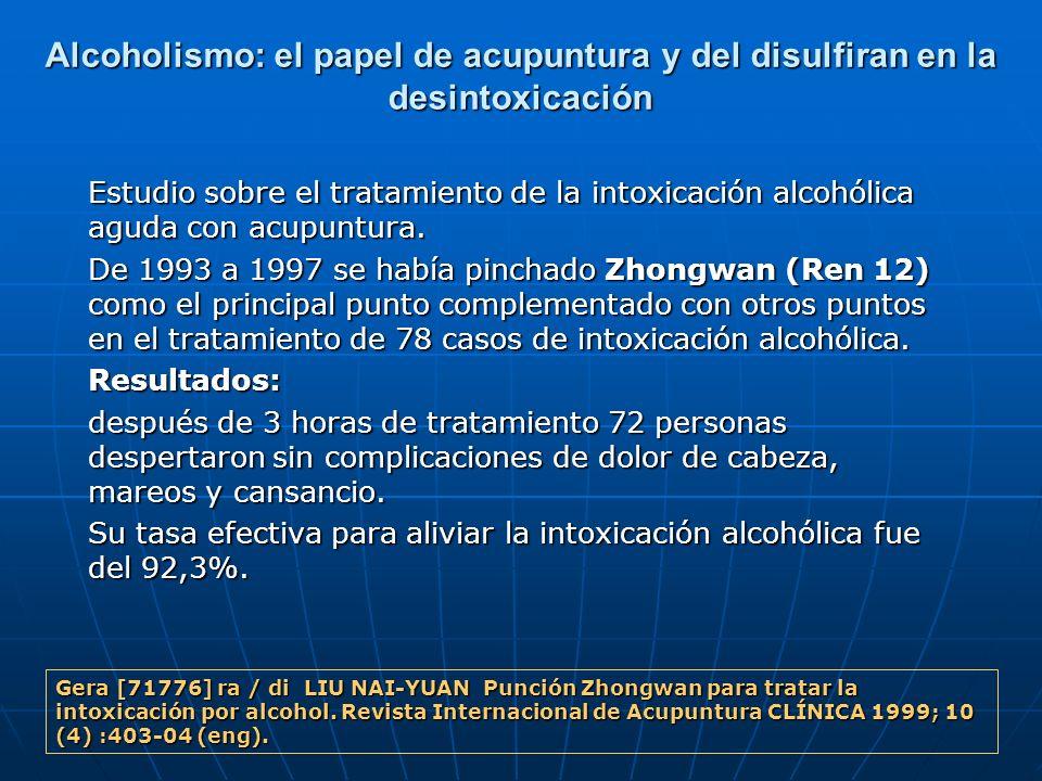 Alcoholismo: el papel de acupuntura y del disulfiran en la desintoxicación