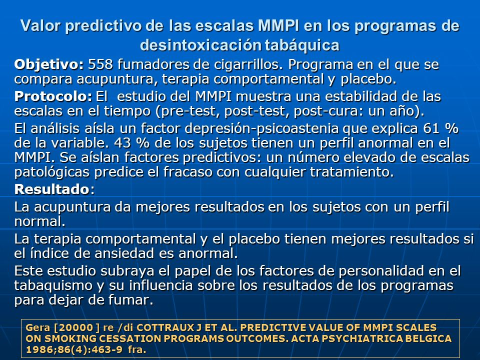 Valor predictivo de las escalas MMPI en los programas de desintoxicación tabáquica