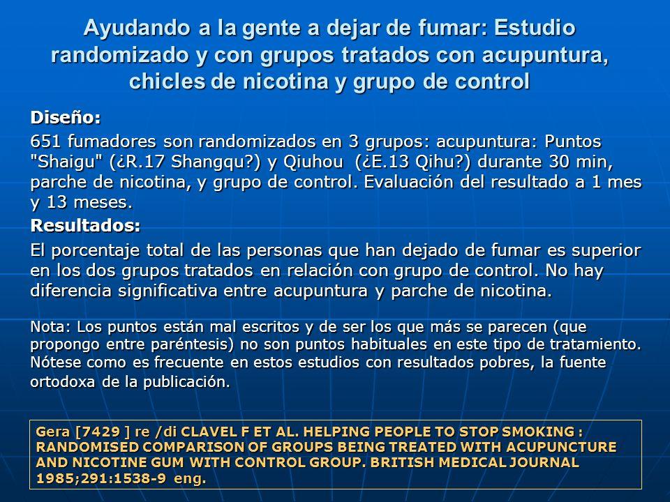 Ayudando a la gente a dejar de fumar: Estudio randomizado y con grupos tratados con acupuntura, chicles de nicotina y grupo de control