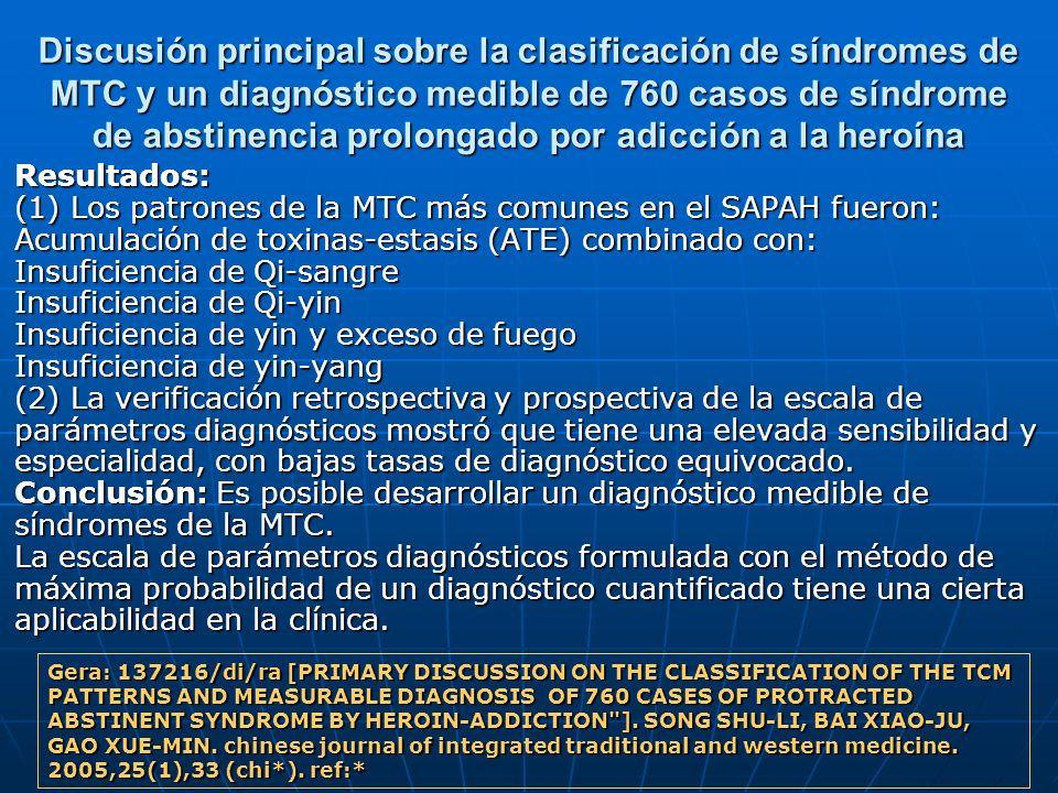 Discusión principal sobre la clasificación de síndromes de MTC y un diagnóstico medible de 760 casos de síndrome de abstinencia prolongado por adicción a la heroína
