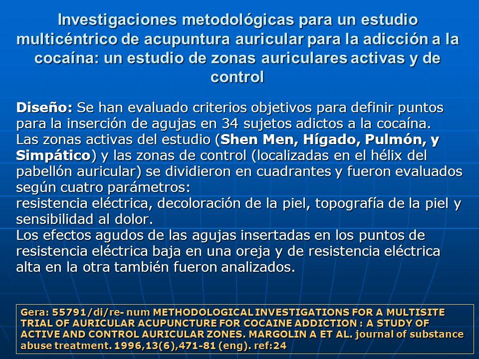Investigaciones metodológicas para un estudio multicéntrico de acupuntura auricular para la adicción a la cocaína: un estudio de zonas auriculares activas y de control