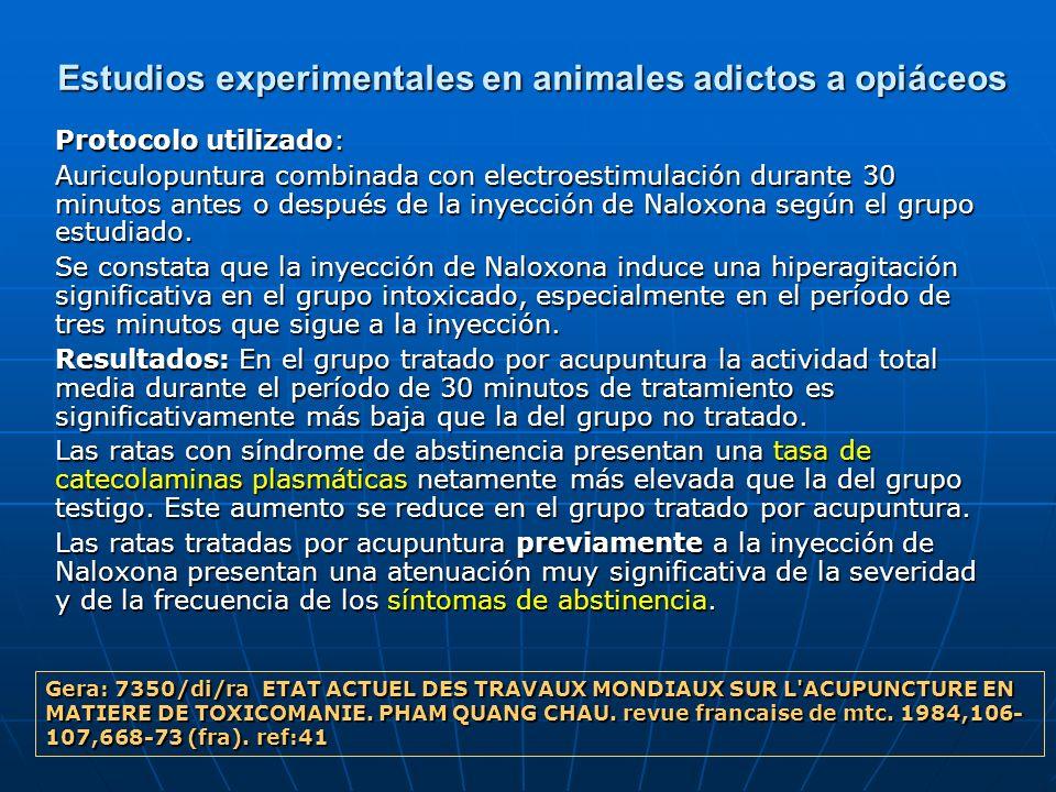 Estudios experimentales en animales adictos a opiáceos