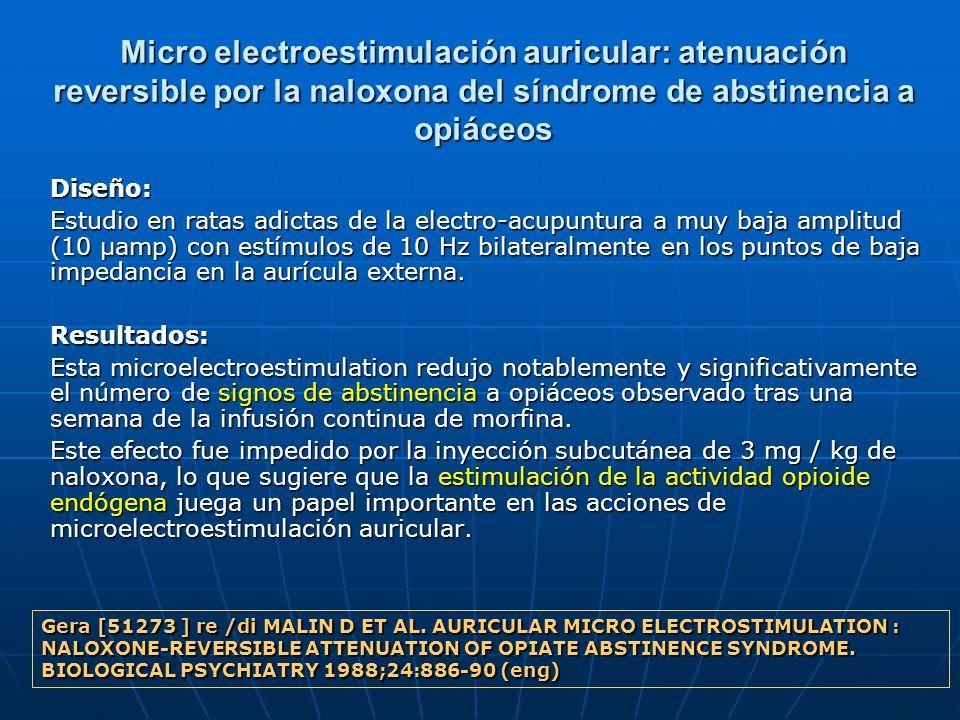 Micro electroestimulación auricular: atenuación reversible por la naloxona del síndrome de abstinencia a opiáceos