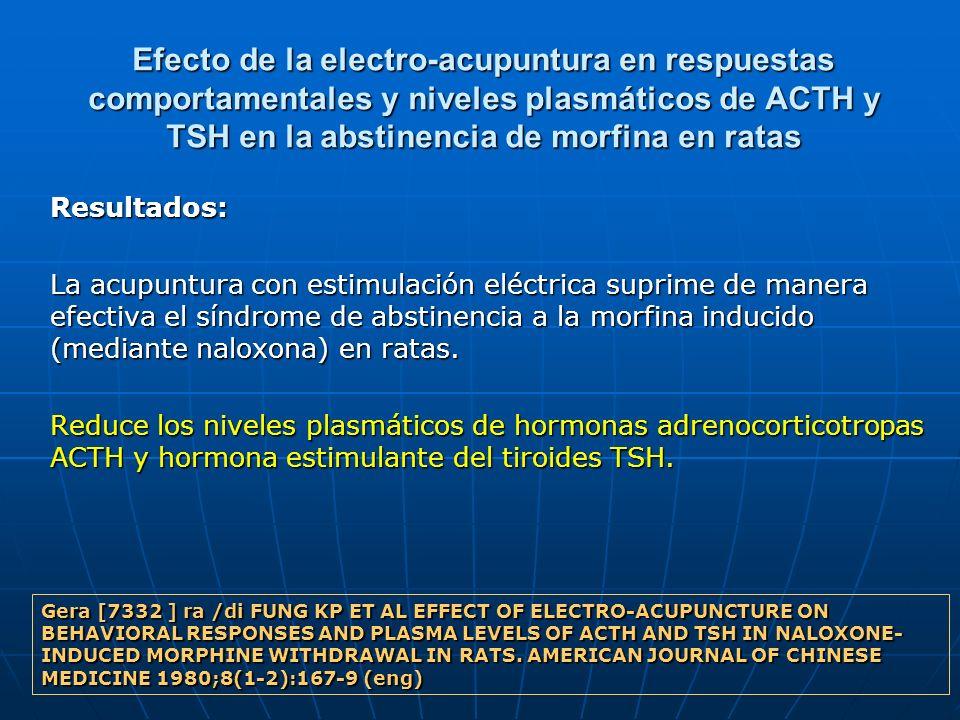 Efecto de la electro-acupuntura en respuestas comportamentales y niveles plasmáticos de ACTH y TSH en la abstinencia de morfina en ratas