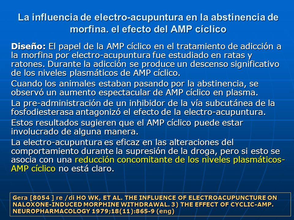 La influencia de electro-acupuntura en la abstinencia de morfina