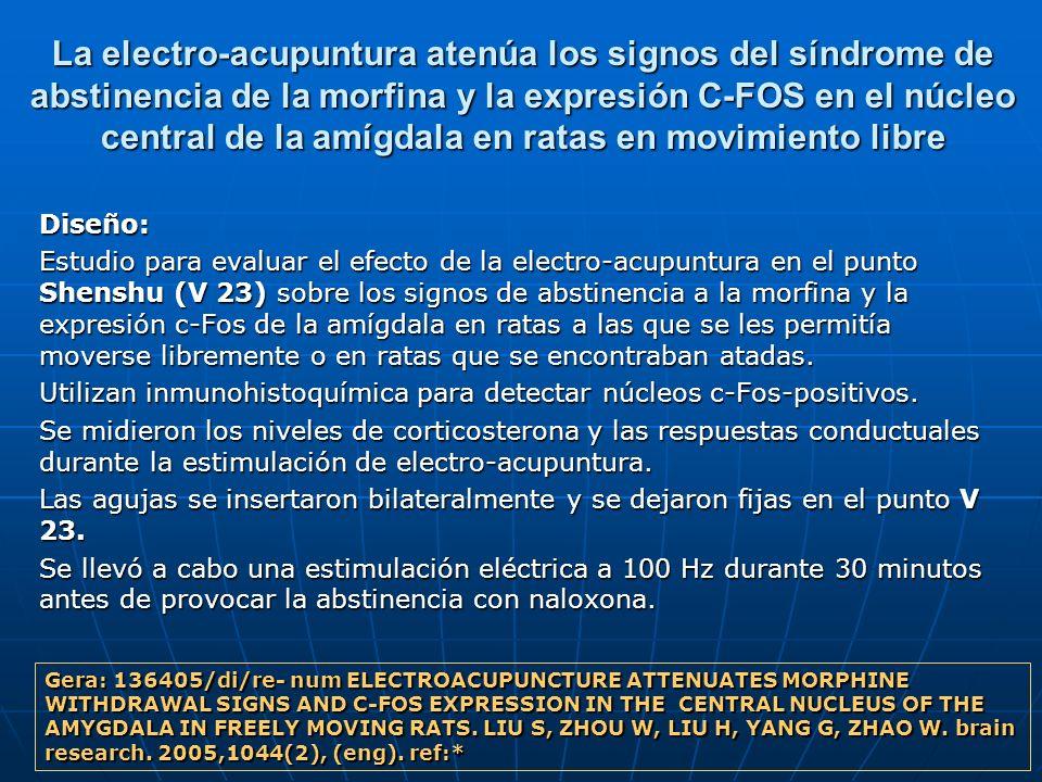 La electro-acupuntura atenúa los signos del síndrome de abstinencia de la morfina y la expresión C-FOS en el núcleo central de la amígdala en ratas en movimiento libre