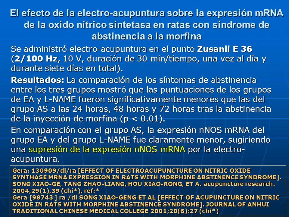 El efecto de la electro-acupuntura sobre la expresión mRNA de la oxido nítrico sintetasa en ratas con síndrome de abstinencia a la morfina