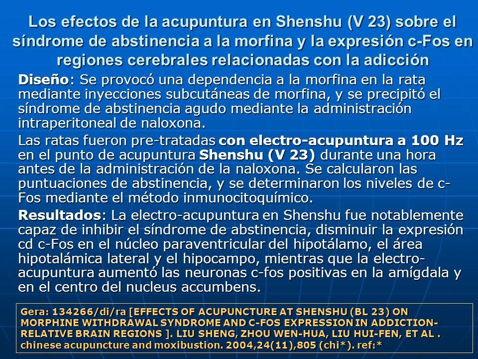 Los efectos de la acupuntura en Shenshu (V 23) sobre el síndrome de abstinencia a la morfina y la expresión c-Fos en regiones cerebrales relacionadas con la adicción
