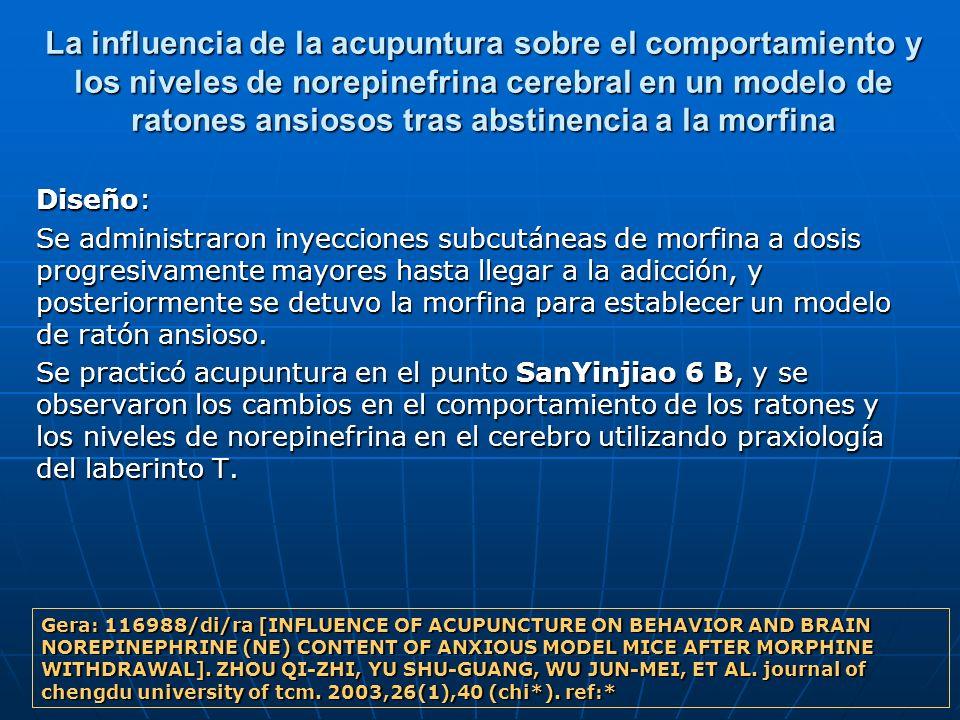 La influencia de la acupuntura sobre el comportamiento y los niveles de norepinefrina cerebral en un modelo de ratones ansiosos tras abstinencia a la morfina