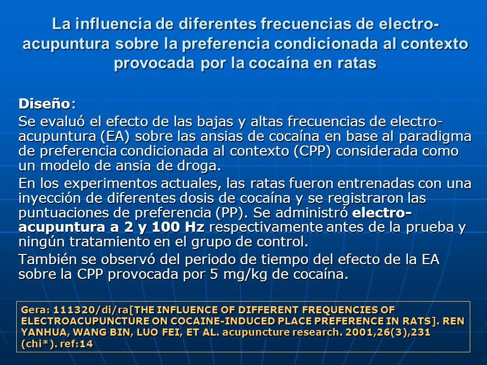 La influencia de diferentes frecuencias de electro-acupuntura sobre la preferencia condicionada al contexto provocada por la cocaína en ratas