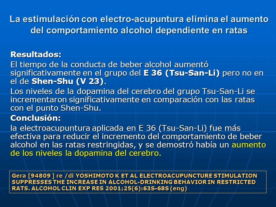 La estimulación con electro-acupuntura elimina el aumento del comportamiento alcohol dependiente en ratas