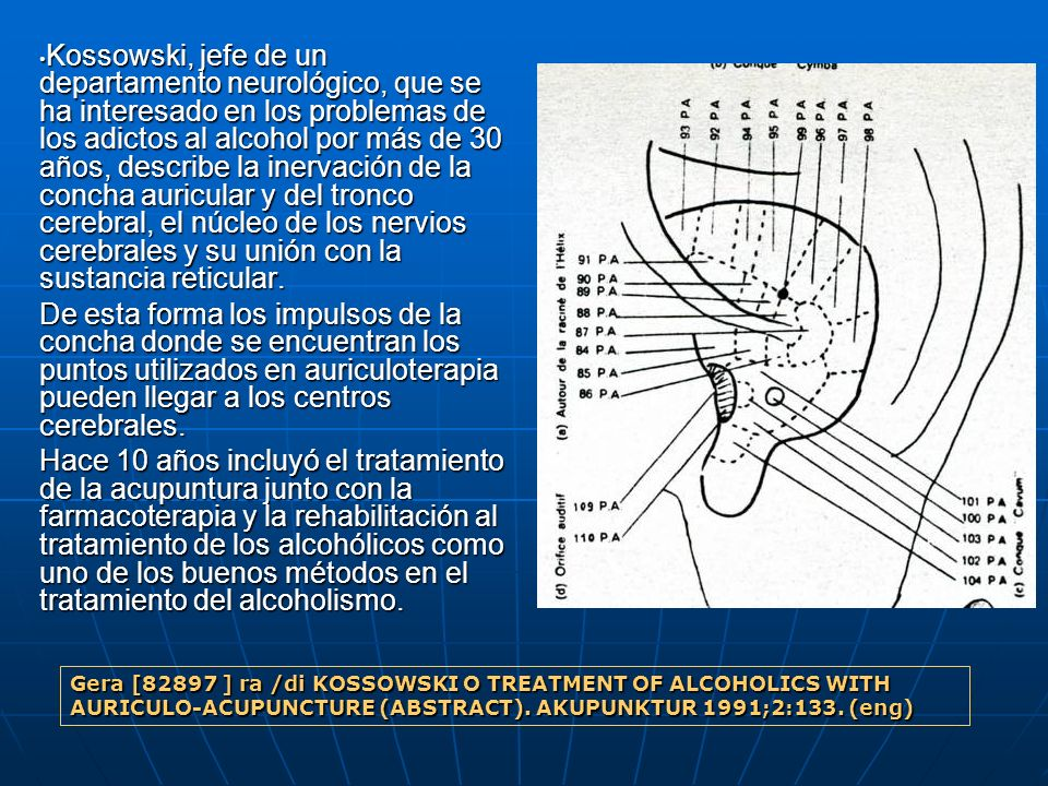 Kossowski, jefe de un departamento neurológico, que se ha interesado en los problemas de los adictos al alcohol por más de 30 años, describe la inervación de la concha auricular y del tronco cerebral, el núcleo de los nervios cerebrales y su unión con la sustancia reticular.