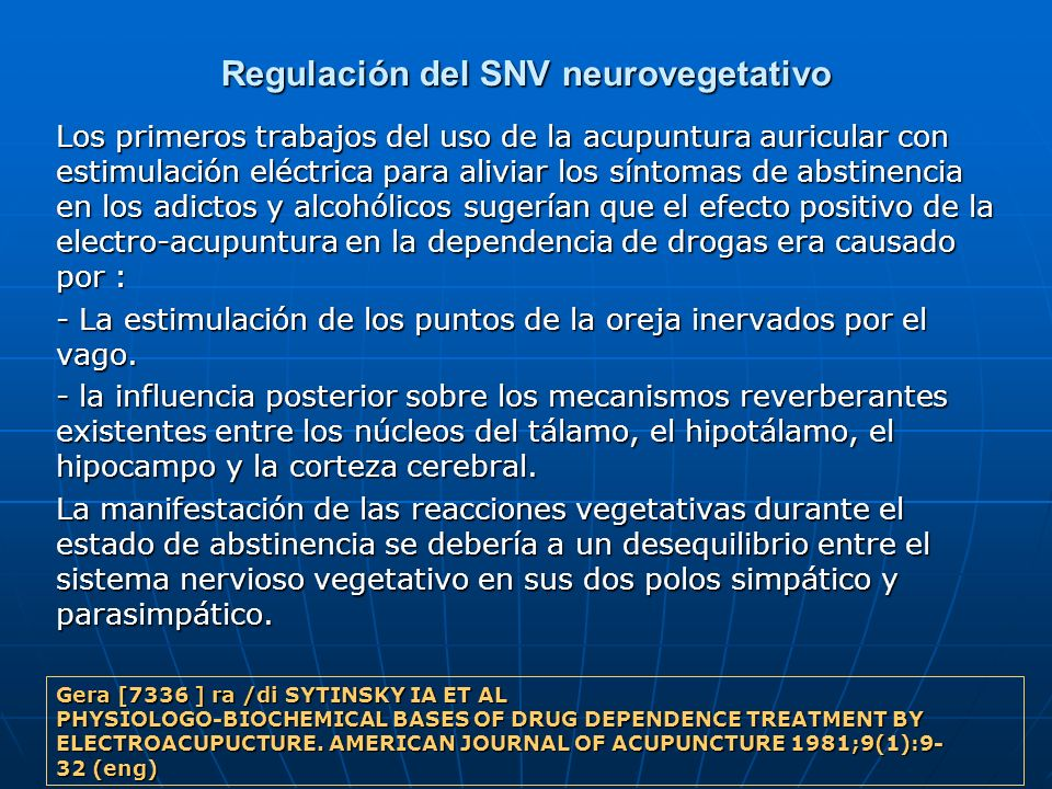 Regulación del SNV neurovegetativo