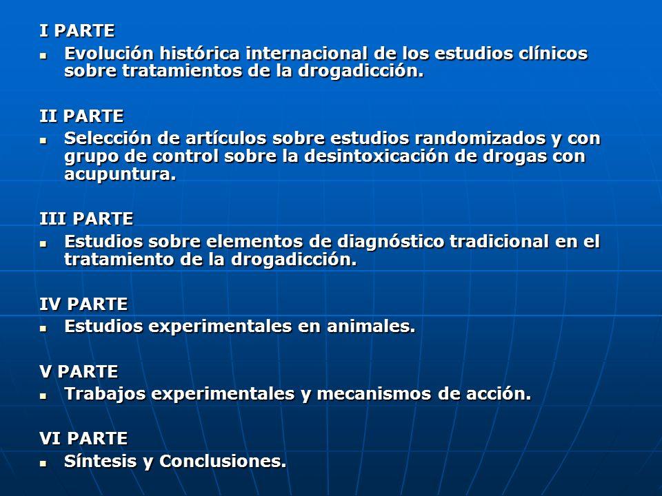 I PARTE Evolución histórica internacional de los estudios clínicos sobre tratamientos de la drogadicción.