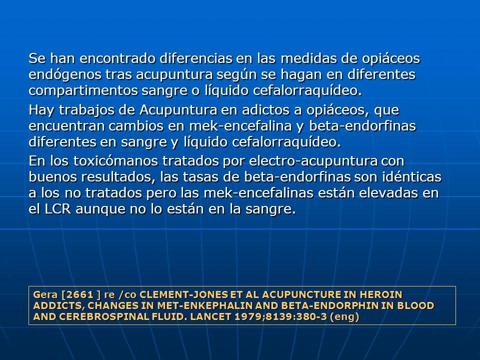 Se han encontrado diferencias en las medidas de opiáceos endógenos tras acupuntura según se hagan en diferentes compartimentos sangre o líquido cefalorraquídeo.