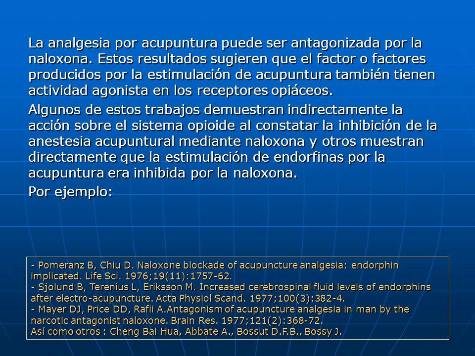 La analgesia por acupuntura puede ser antagonizada por la naloxona