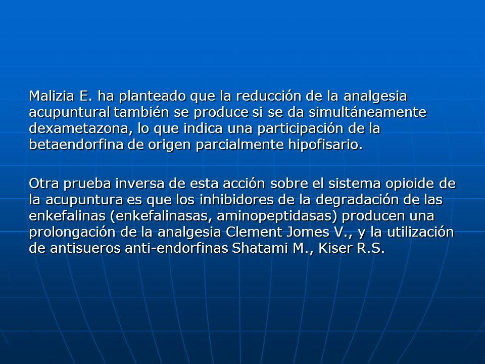 Malizia E. ha planteado que la reducción de la analgesia acupuntural también se produce si se da simultáneamente dexametazona, lo que indica una participación de la betaendorfina de origen parcialmente hipofisario.
