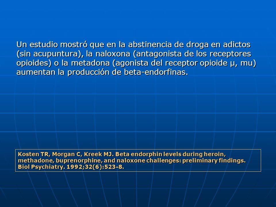 Un estudio mostró que en la abstinencia de droga en adictos (sin acupuntura), la naloxona (antagonista de los receptores opioides) o la metadona (agonista del receptor opioide μ, mu) aumentan la producción de beta-endorfinas.
