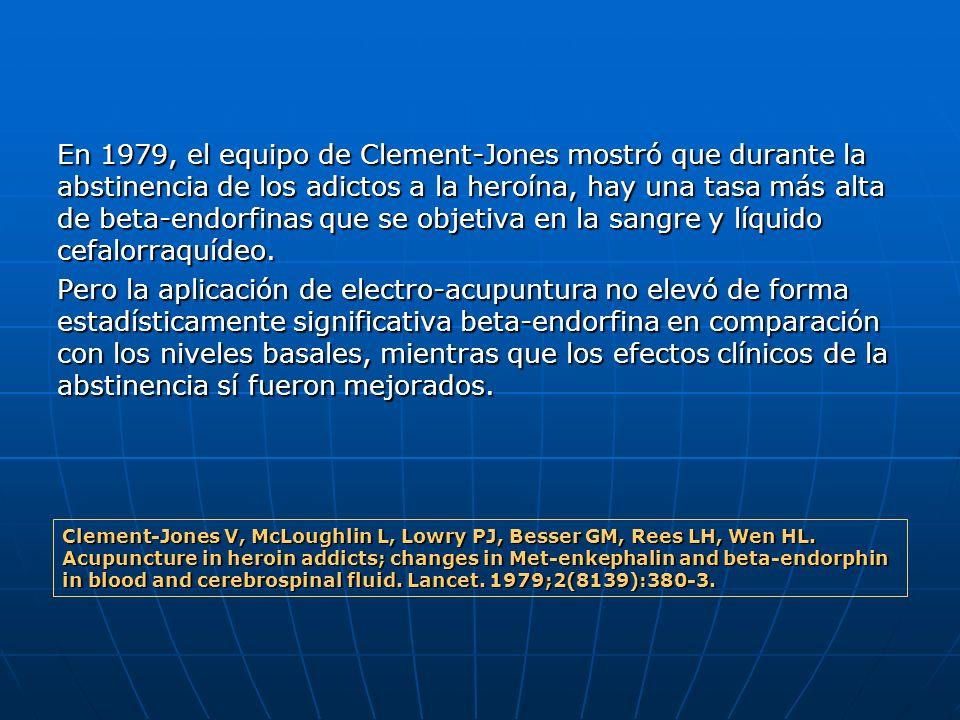 En 1979, el equipo de Clement-Jones mostró que durante la abstinencia de los adictos a la heroína, hay una tasa más alta de beta-endorfinas que se objetiva en la sangre y líquido cefalorraquídeo.