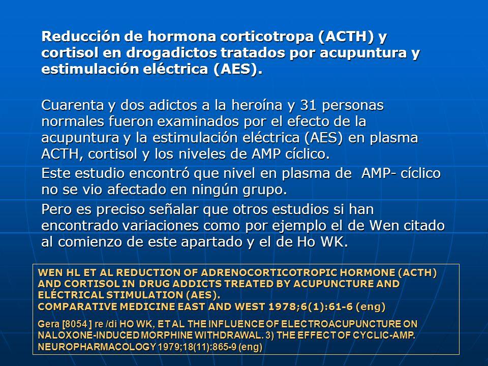 Reducción de hormona corticotropa (ACTH) y cortisol en drogadictos tratados por acupuntura y estimulación eléctrica (AES).