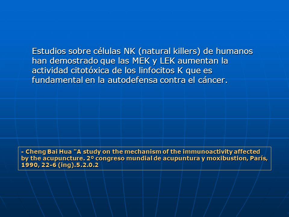 Estudios sobre células NK (natural killers) de humanos han demostrado que las MEK y LEK aumentan la actividad citotóxica de los linfocitos K que es fundamental en la autodefensa contra el cáncer.