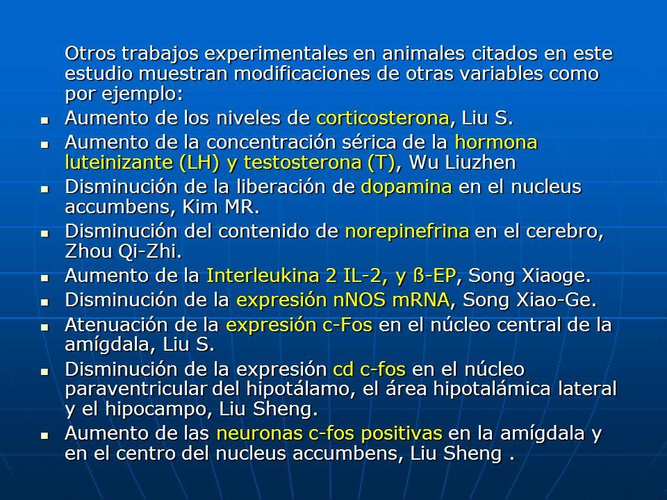 Otros trabajos experimentales en animales citados en este estudio muestran modificaciones de otras variables como por ejemplo: