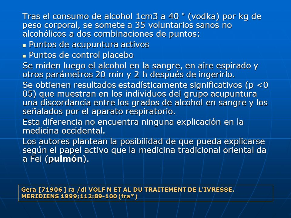 Puntos de acupuntura activos Puntos de control placebo