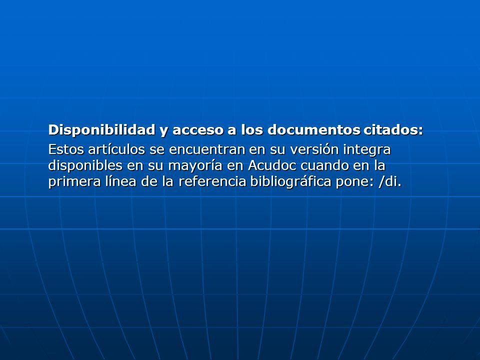 Disponibilidad y acceso a los documentos citados: