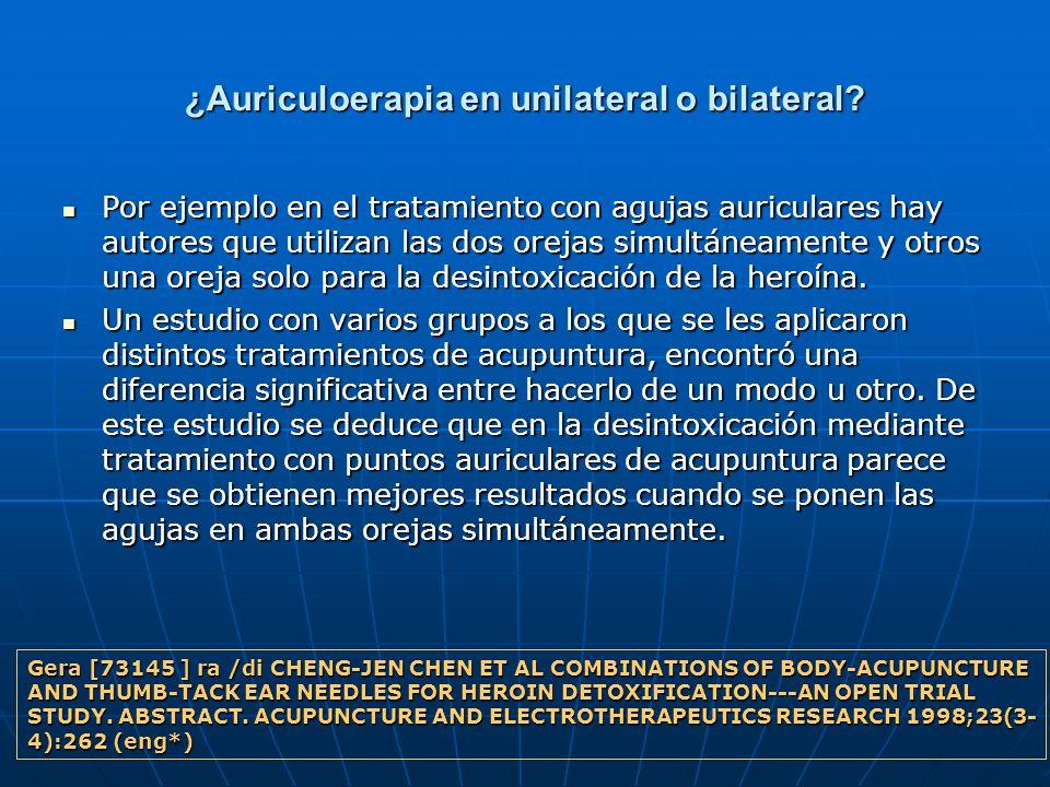 ¿Auriculoerapia en unilateral o bilateral
