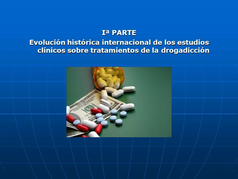 Iª PARTE Evolución histórica internacional de los estudios clínicos sobre tratamientos de la drogadicción.