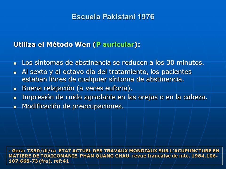 Escuela Pakistaní 1976 Utiliza el Método Wen (P auricular):